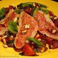 Salade de rougets-barbets et tagliatelles de courgettes à la vinaigrette de tomate ( plat chaud)