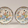 Pair of polychrome chinoiserie large dishes. delft, circa 1740-50