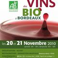 Bordeaux: vins bio 20 et 21 novembre