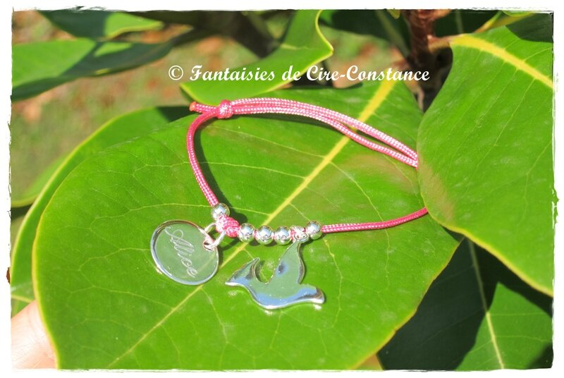 Bracelet nylon rose Alice colombe