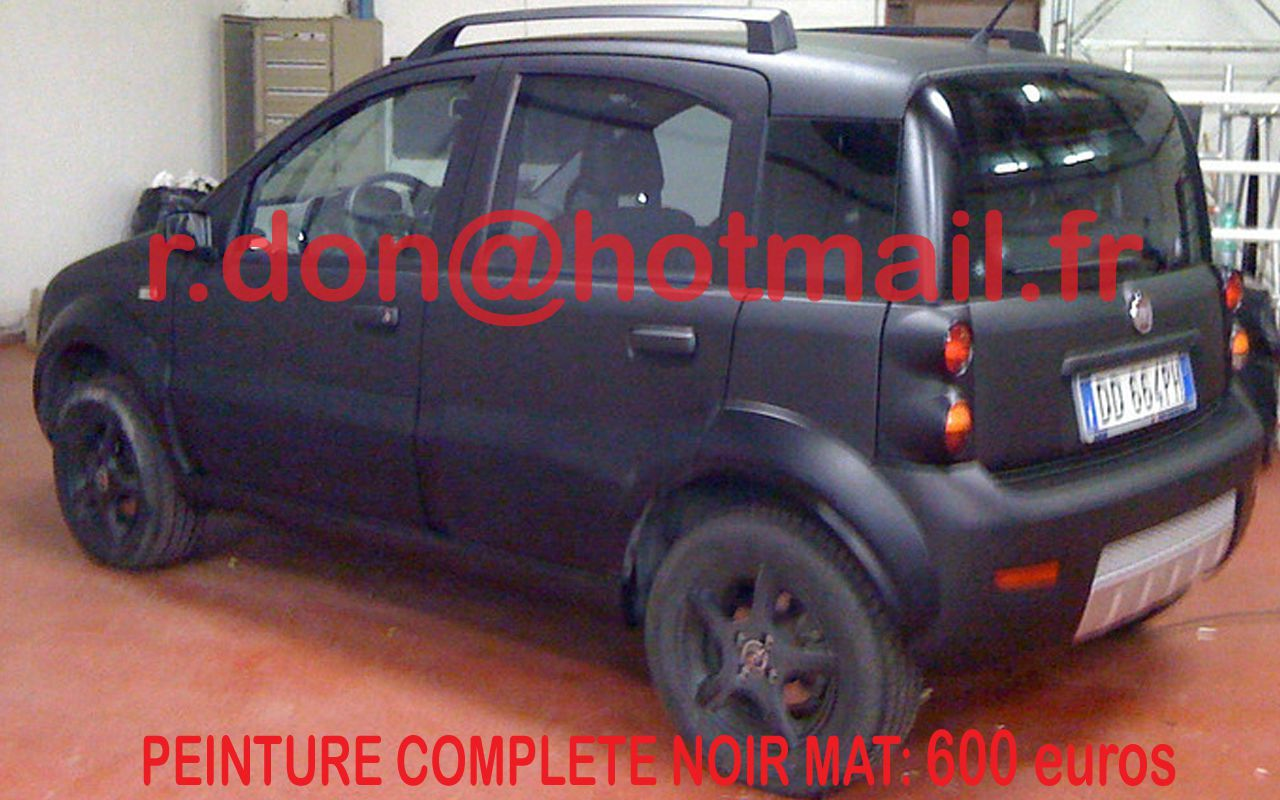 fiat panda auto carrosserie peindre voiture peindre une voiture total covering noir mat. Black Bedroom Furniture Sets. Home Design Ideas