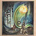 Genèse - Naissance de la vie dans les océans - Vie unicellulaire - peinture gouache Ghislaine Letourneur 1979