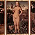 Hans memling, triptych of earthly vanity and divine salvation, c.1485