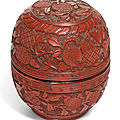 A carved cinnabar lacquer ovoid 'lychee' box and cover, ming dynasty, 16th century