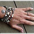 Bracelet multirangs en perles heishi coquillage et nacre
