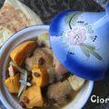 Tajine de poulet, patate douce, navet et coing