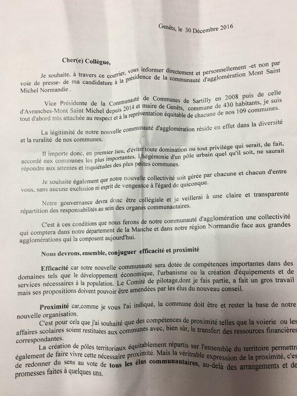 communiqué de presse Catherine Brunaud Rhyn candidature communauté agglomération Mont-Saint-Michel Normandie 2017 1