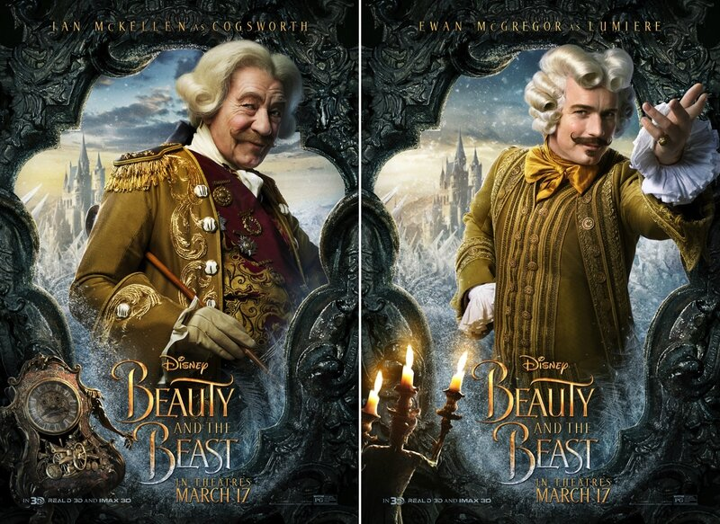 Ian McKellen_Cogsworth and Ewan McGregor_Lumière_Beauty and The Beast