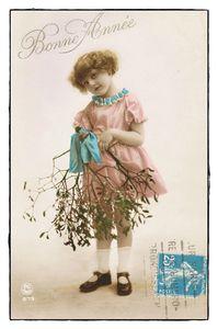 Carte Bonne année fillette vintage