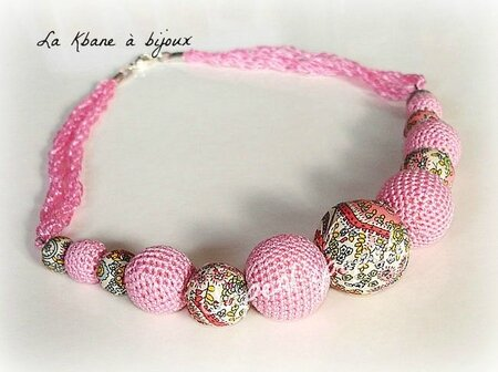 collier tissu Liberty rose1