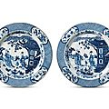 A pair of blue and white 'ladies' chargers, kangxi period (1662-1722)
