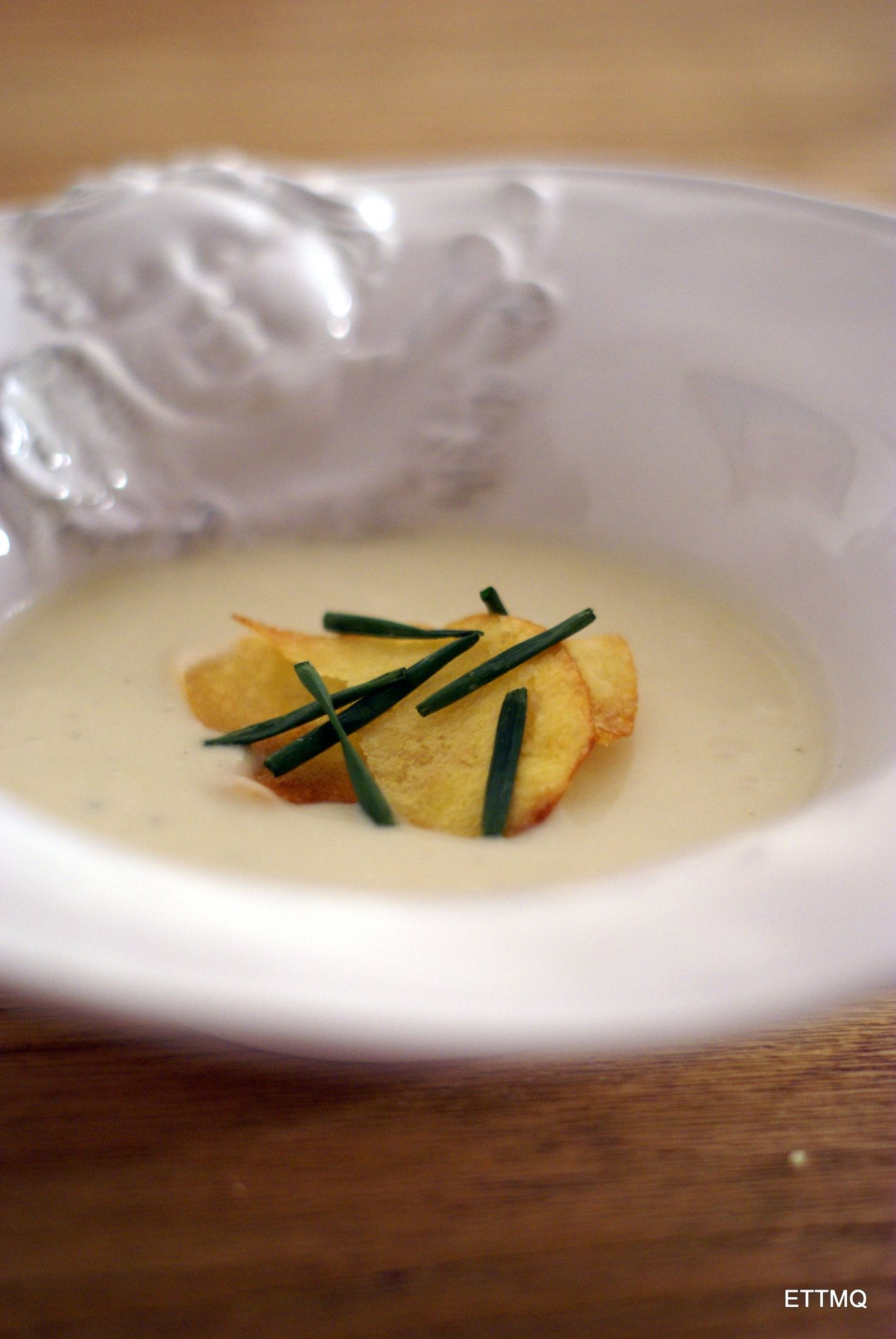 Leek Vichyssoise, homemade potato chips