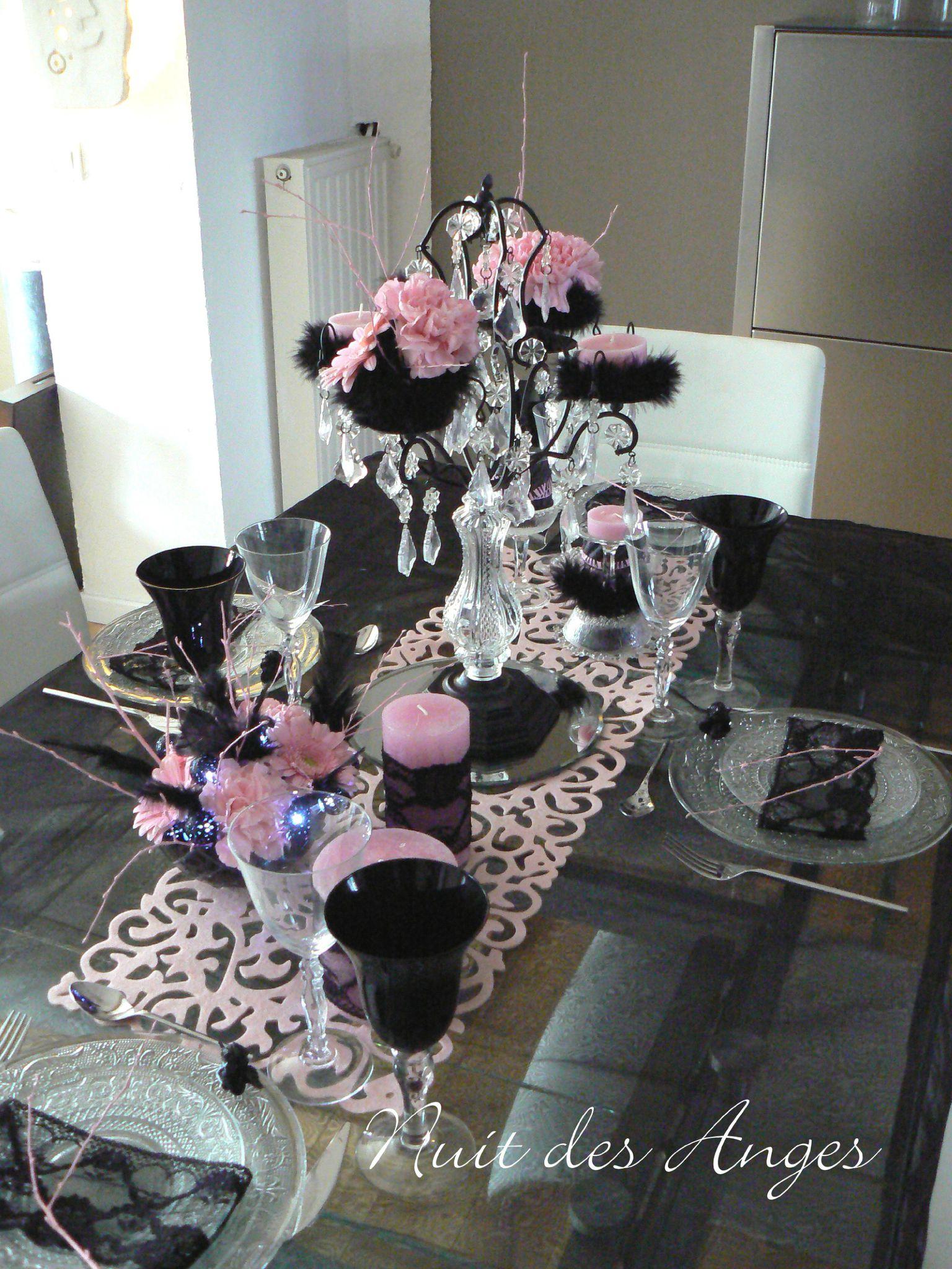 Nuit des anges d coratrice de mariage d coration de table for Deco chambre noir et rose