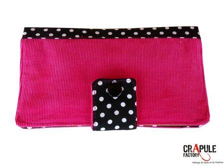 portefeuille marcius velours rose et noir pois 1blo