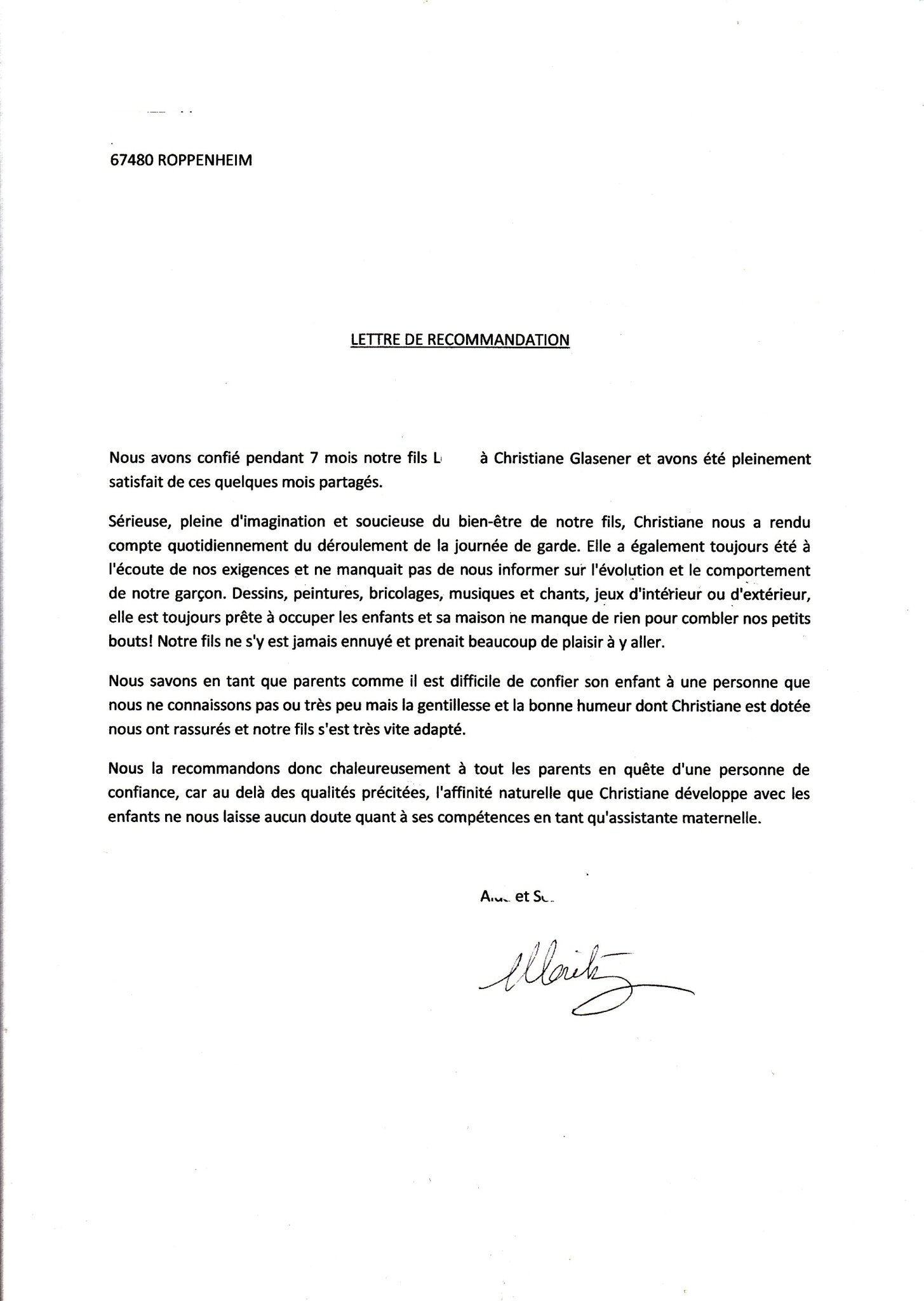 exemple de lettre de satisfaction