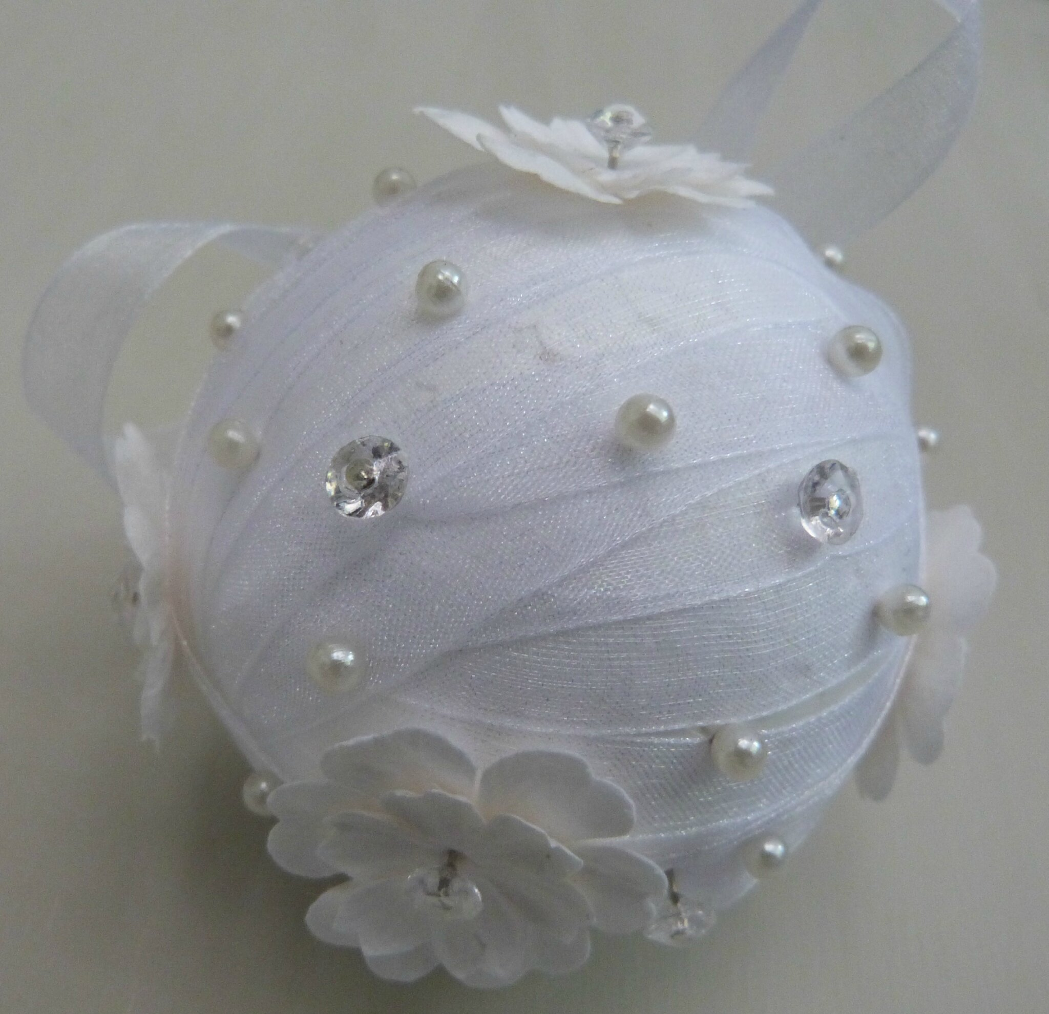 Boule de no l ruban organza nfm nath fait main for Idee deco avec des photos