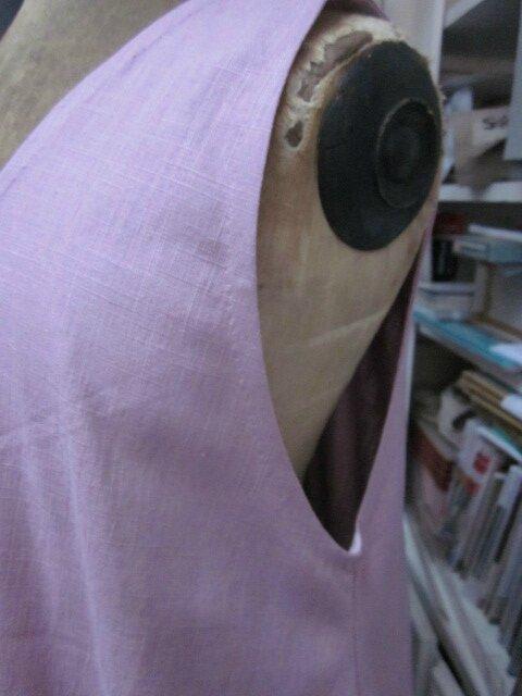 Robe HENRIETTE en lin vieux rose (4)