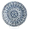 Large blue and white plate, 17th-18th century, kangxi period