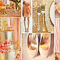 Décoration de mariage thème inde/bollywood corail orangé et or