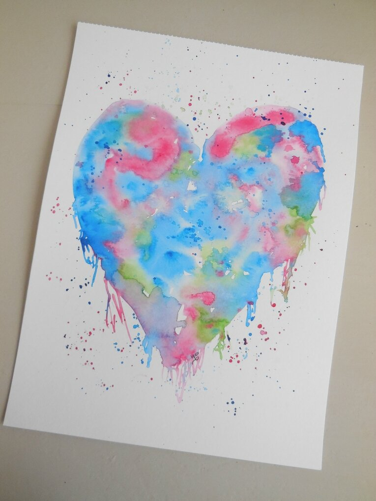 Aquarelle originale coeur