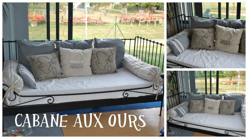 coussins pour canap lit la cabane aux ours. Black Bedroom Furniture Sets. Home Design Ideas