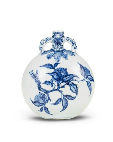 A 'Ming-style' blue and white moonflask, bianhu, 18th century