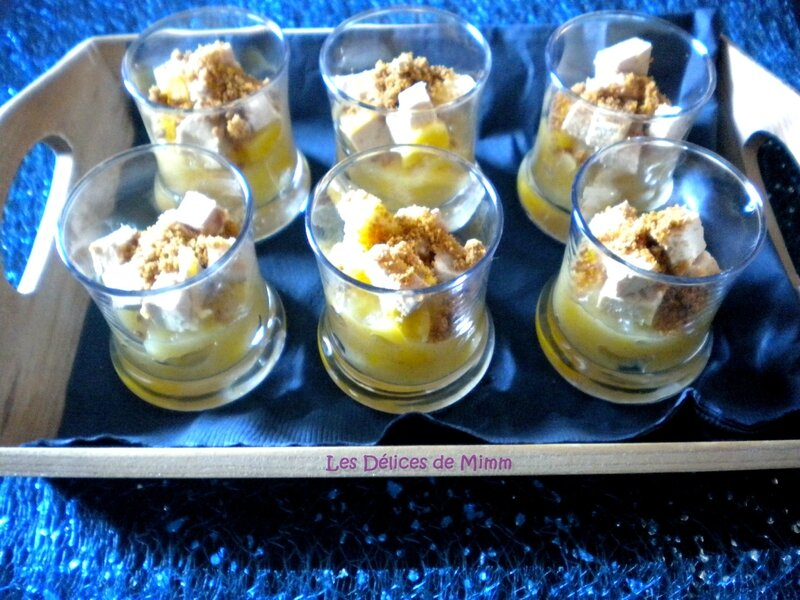 Verrine de foie gras, mangue, rhum et spéculoos 3