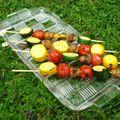 Des brochettes de légumes marinés légères et croquantes!