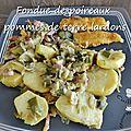 Fondue de poireaux, pommes de terre et lardons