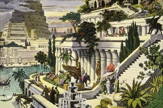 Les Jardins suspendus de Babylone, gravure réalisée par Martin HEEMSKERCK, Pays Bas, XVI° siècle