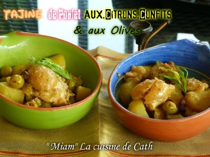 """ღ """" MIAM """" Tajine de Poulet aux citrons confits et Olives"""