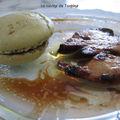 Pas de noël sans foie gras : foie poelé et macarons au thé vert