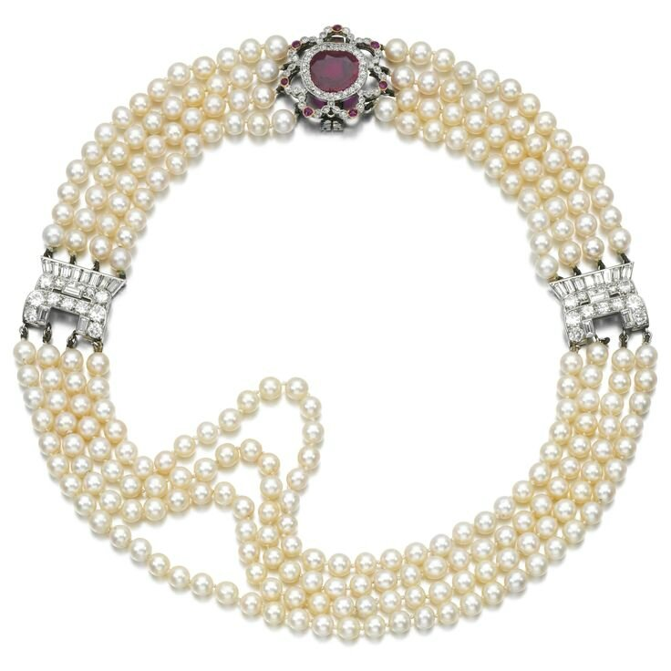 Natural pearl, ruby and diamond choker, early 20th century and later