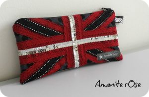 Trousse union jack flag paillettes