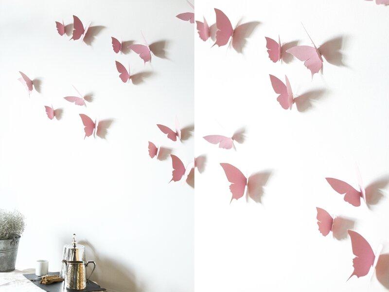 Envolée de papillons rose pâle déco murale TRENDY LITTLE 2