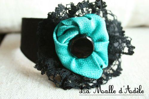 collier soie noire et turquoise jais 003