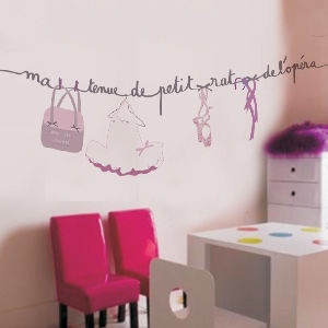 Decoration danseuse toile shopping deco for Stickers chambre petite fille