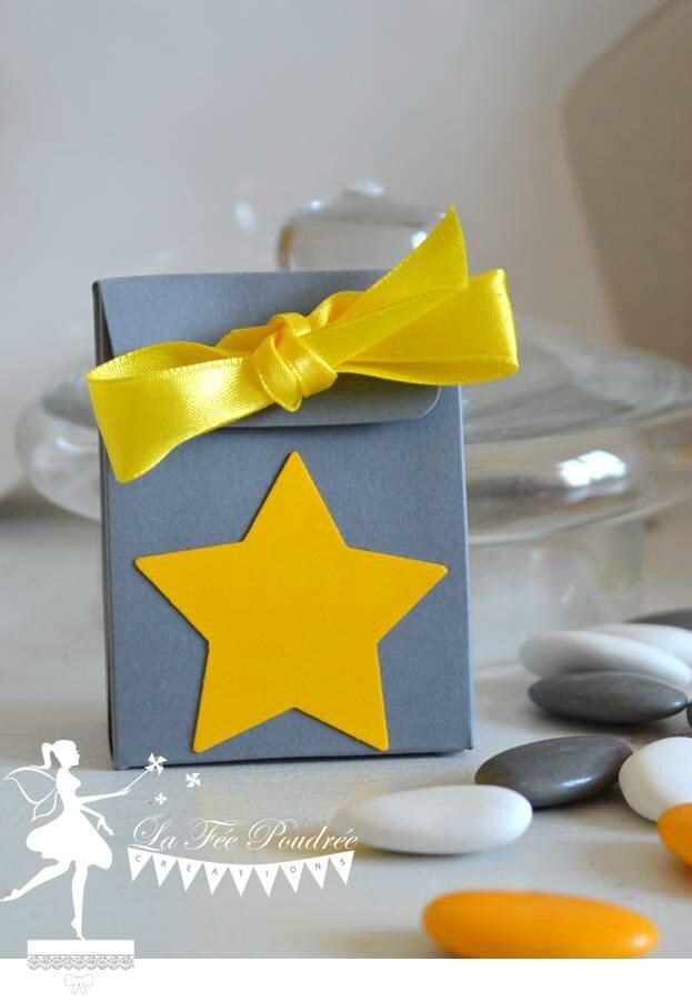 boite dragees bapteme gris soleil theme etoile grise ruban satin amande avola blanc chocolat jaune