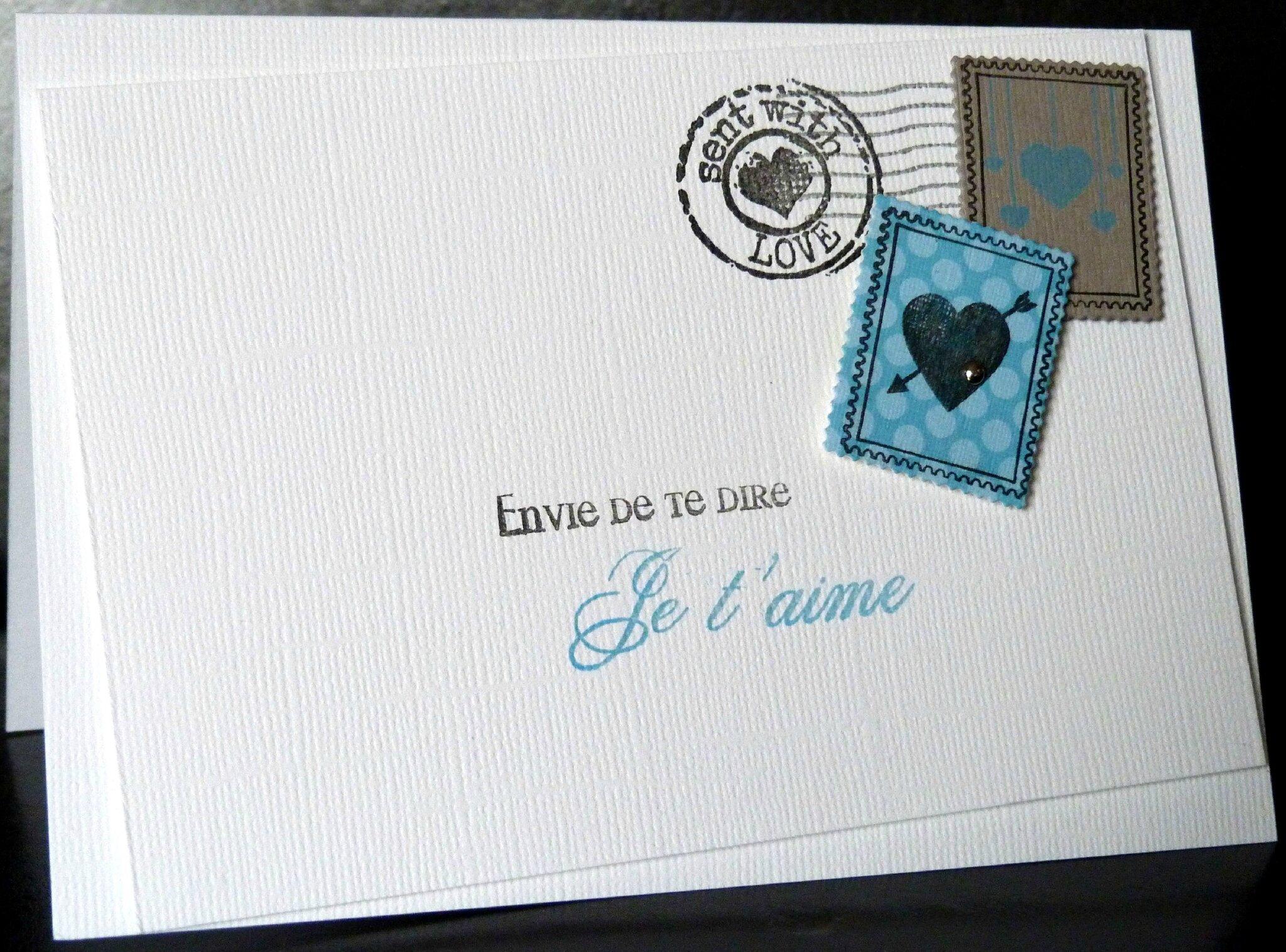 un lift des timbres une carte comme une enveloppe pour une d claration d 39 amour les 2. Black Bedroom Furniture Sets. Home Design Ideas