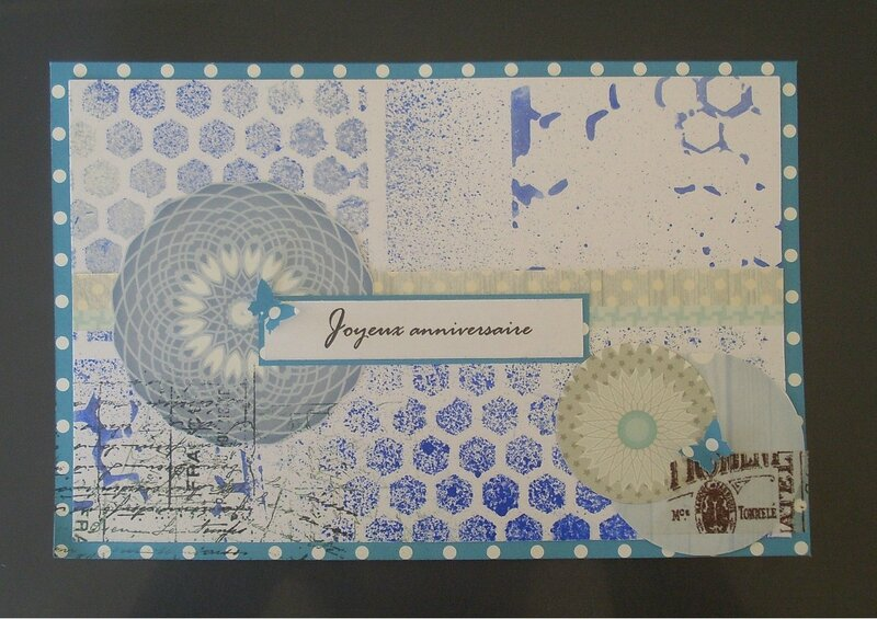 carte anniversaire spray and scrap
