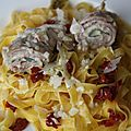 Saltimbocca con salsa alla crema e tagliatelle - Saltimbocca sauce  la crme et tagliatelles 
