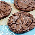 Cookies chocolat, fleur de sel et cœur caramel