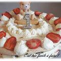 Gateau d'anniversaire chocolat meringue fraises