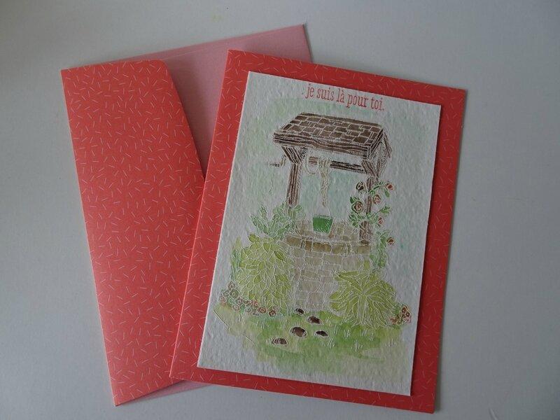 8 Carte embossée et aquarellée + enveloppe