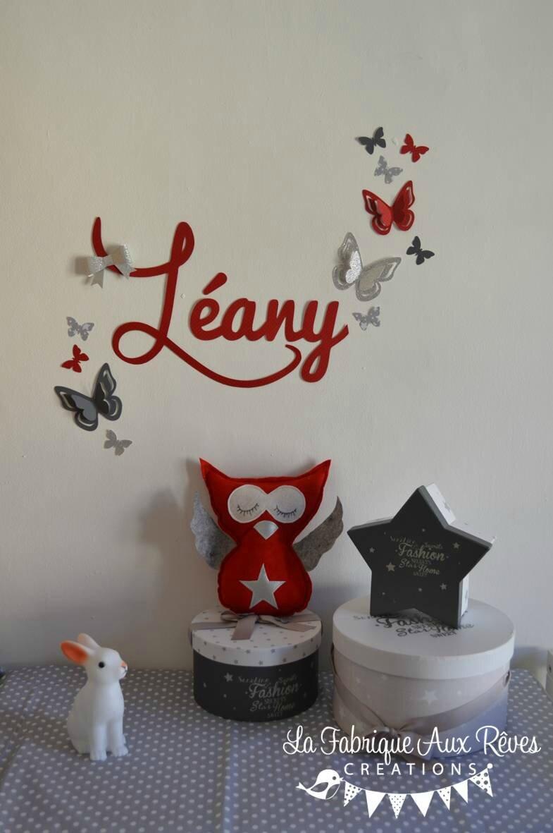 Décoration chambre enfant bébé rouge gris blanc argent hibou ...