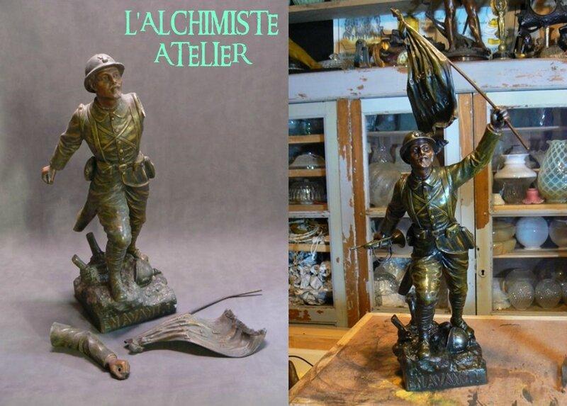 poilu sculpture régule par henri fugére restauration soudure manque patine