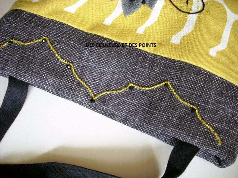 pochette jaune moutarde details haut