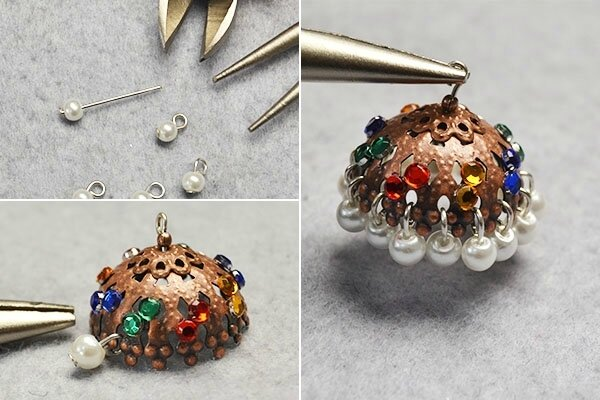 Pandahall Original Project-How to Make Tibetan Pearl and Cabochons Hoop Earrings(6)
