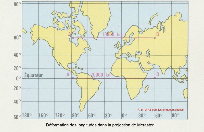 projection Mercator et déformation longitudes
