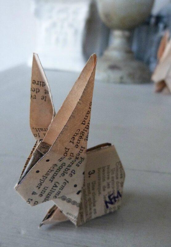 Lapin origami papier ancien (23)